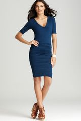 James Perse Dress V Neck Ruched - Lyst