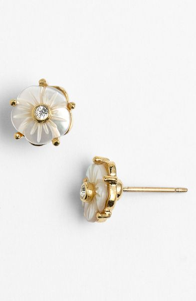 Kate Spade Crystal Corsage Stud Earrings in White (mother of pearl) - Lyst