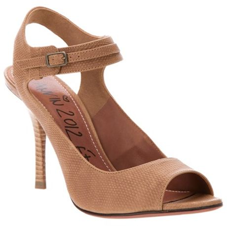 Lanvin Peep Toe Sandal in Beige (brown) - Lyst