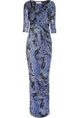 Matthew Williamson Featherprint Stretchjersey Maxi Dress - Lyst