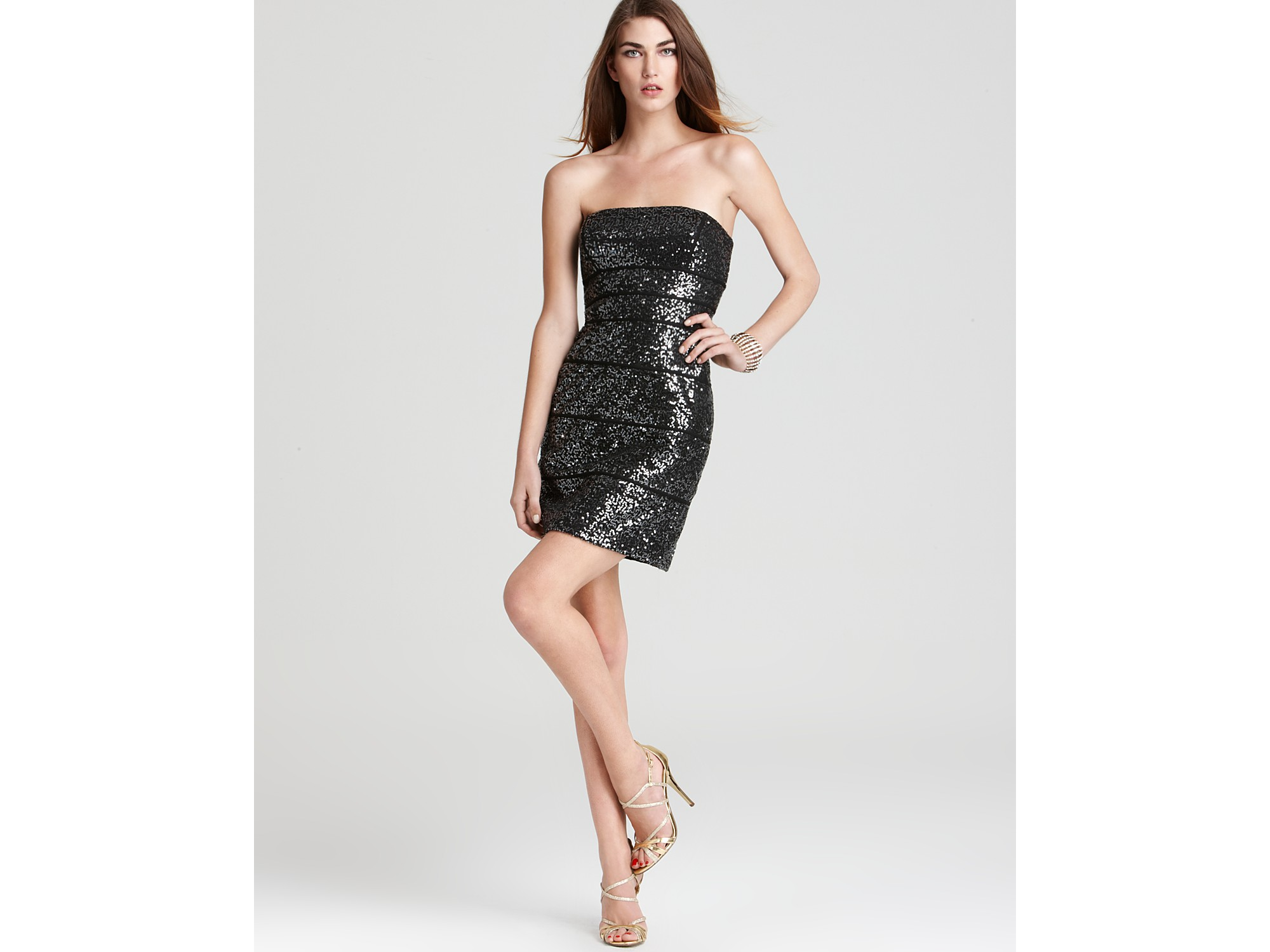 Max & cleo Dress Strapless Sequin Dress in Black | Lyst