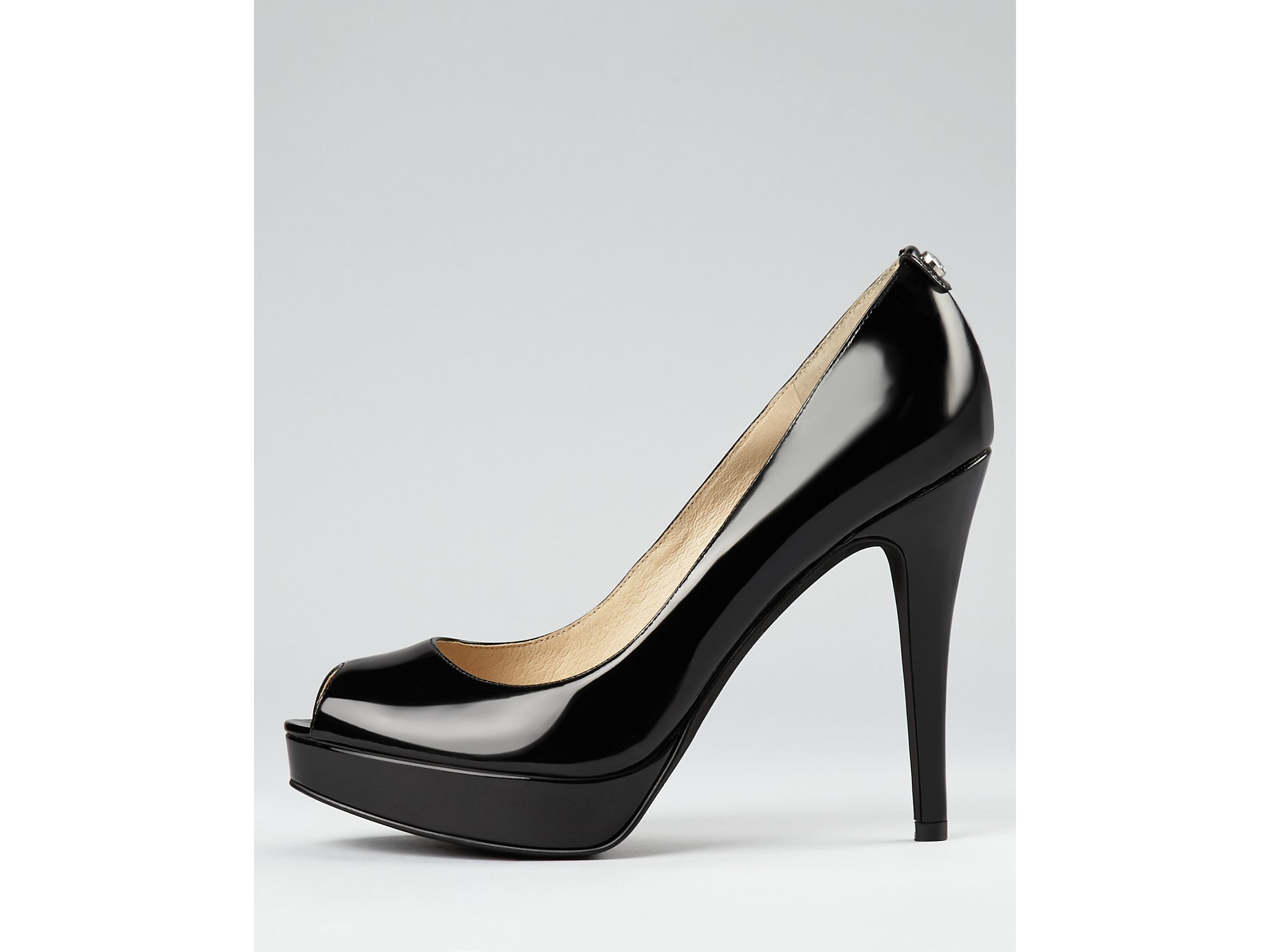 6c66525fe8 MICHAEL Michael Kors York Platform Black Patent Leather Peep Toe ...