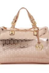 Michael Kors Jet Set Monogram Grayson Satchel in Gold (rose gold) - Lyst