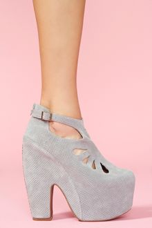 Nasty Gal Cuffed Cutout Platform Perforated Gray - Lyst