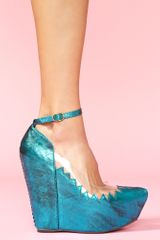 Nasty Gal Audrey Platform Wedge Metallic Teal - Lyst