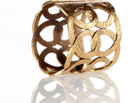 Oscar De La Renta Linked Loop Cuff Bracelet in Gold