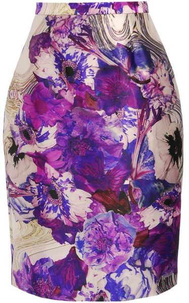 Prabal Gurung Exclusive Printed Woolsilk Pencil Skirt in Purple (purple multi) - Lyst
