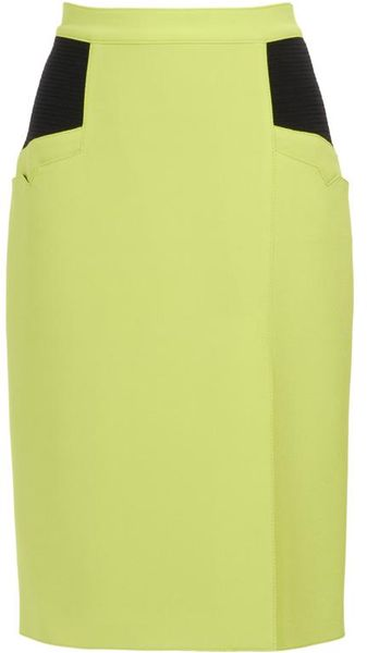 Proenza Schouler Techno Crepe and Smocked Silk Pencil Skirt - Lyst
