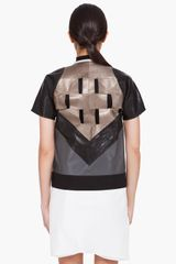 Rick Owens Leather Paneled Intarsia Jacket in Black - Lyst