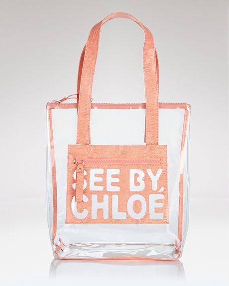 See By Chloé See By Chloé Zipfile Zipped Shopper Tote in Orange (transparent) - Lyst