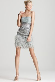 Sue Wong Feather Strapless Dress  - Lyst