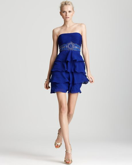 Sue Wong Sw Studio By Dress Strapless Ruffle in Blue (sapphire) - Lyst