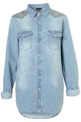 Topshop Oversized Stud Denim Shirt - Lyst