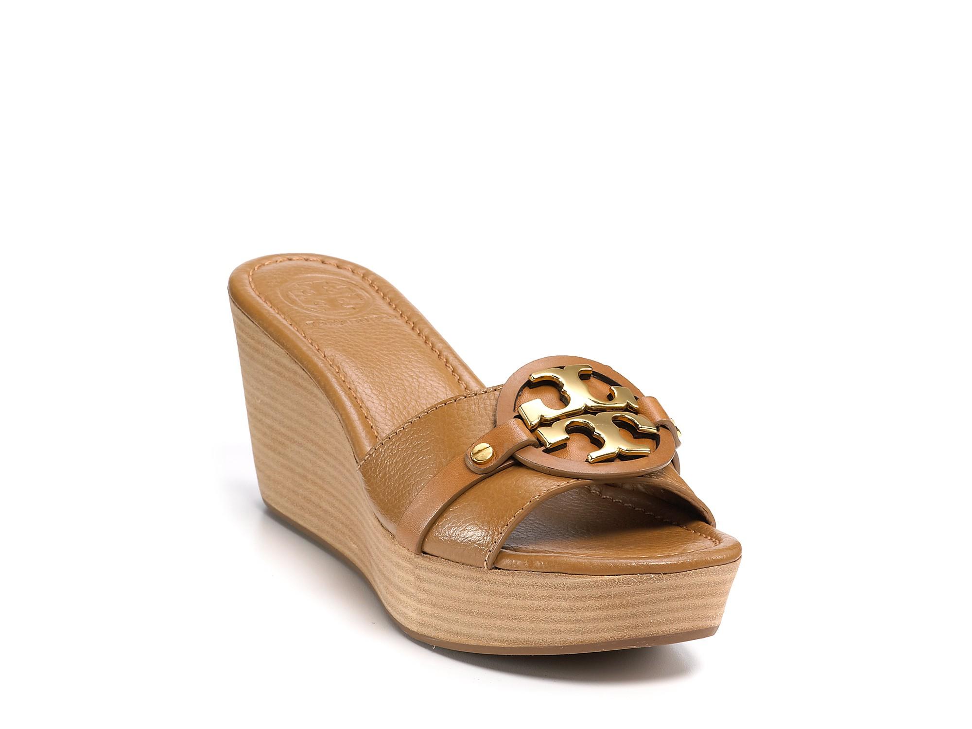 c9ab4c9a86ead Lyst - Tory Burch Patti 3 Wedge Sandals in Brown