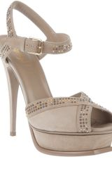 Saint Laurent Studded Peep Toe Sandal - Lyst