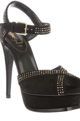 Saint Laurent Studded Peep Toe Pump - Lyst