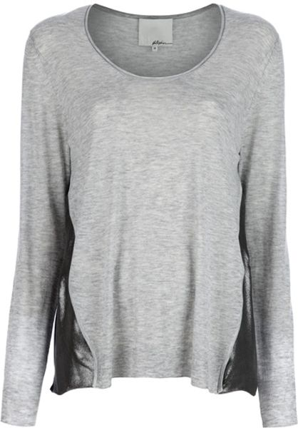 3.1 Phillip Lim Metallic Insert Top in Gray (grey) - Lyst