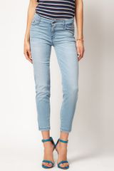 7 For All Mankind 7 For All Mankind Jean Crop Skinny with Zip Detail - Lyst