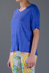 Acne Wonder Linen Tshirt in Blue - Lyst