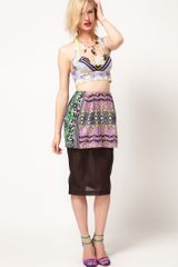 Asos Africa Sheer Pencil Skirt with Printed Peplum