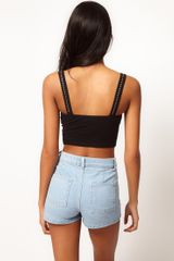 Asos Collection Asos Seamed Bralet with Stud Detail in Black - Lyst