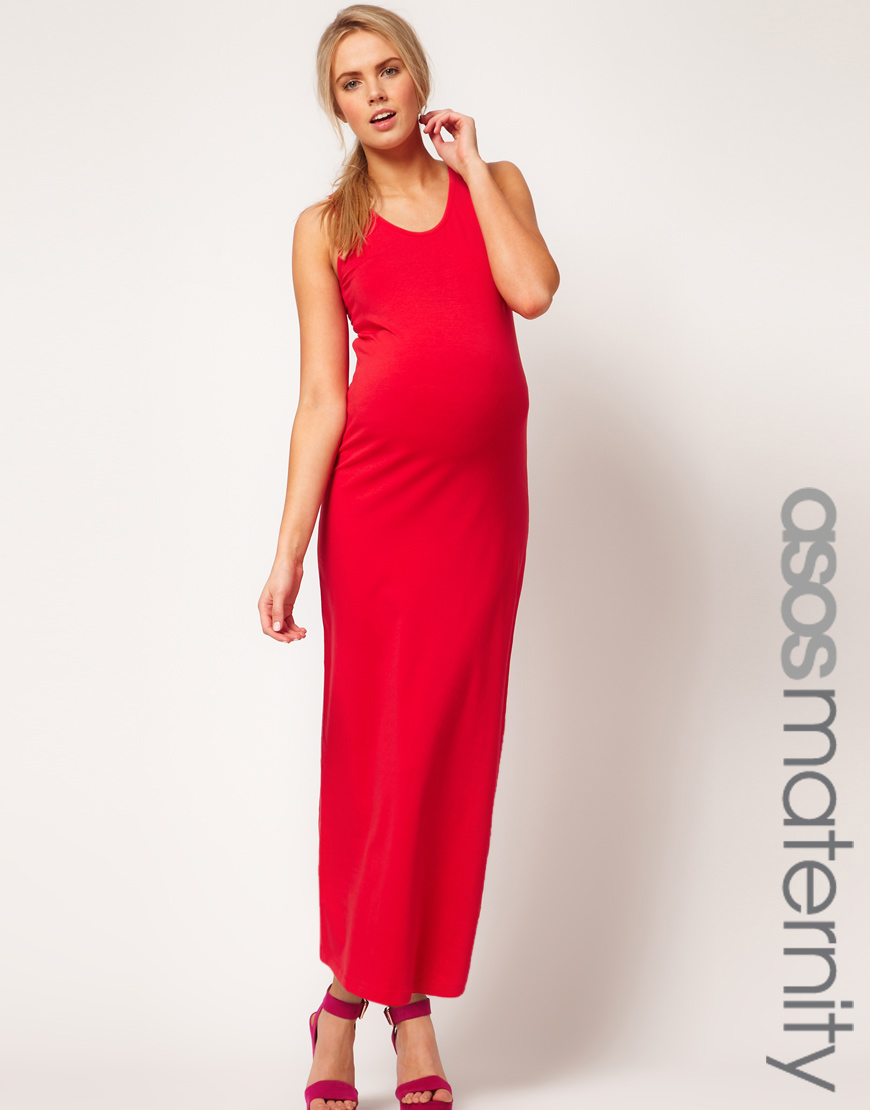 Lyst Asos Maternity Maxi Dress In Stretch Jersey In Red