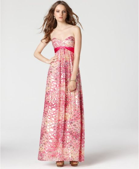 Bcbgmaxazria Strapless Pleated Empire Waist Printed Metallic Maxi in Pink - Lyst