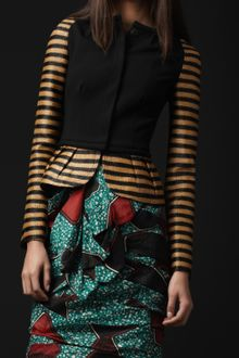 Burberry Prorsum Peplum Waist Striped Jacket - Lyst