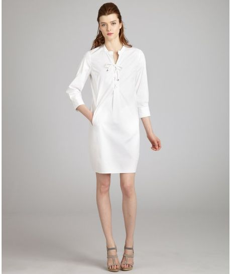 Celine white stretch cotton lace up shirt dress in white for How to stretch a dress shirt