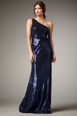 David Meister One-Shoulder Sequin Gown - Lyst