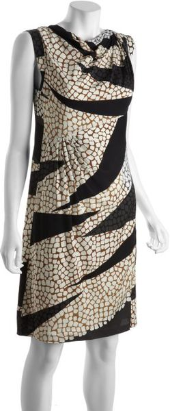 Diane Von Furstenberg Crackle Landscape Stretch Silk Mattie Dress in Brown - Lyst