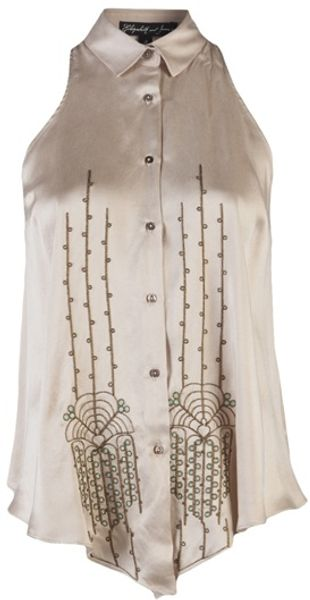 Elizabeth And James Sleeveless Silk Blouse in Beige - Lyst