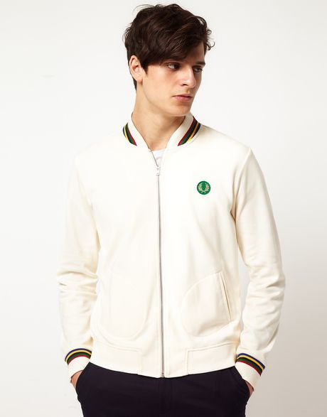 fred perry fred perry track field bomber jacket in beige for men ecru lyst. Black Bedroom Furniture Sets. Home Design Ideas