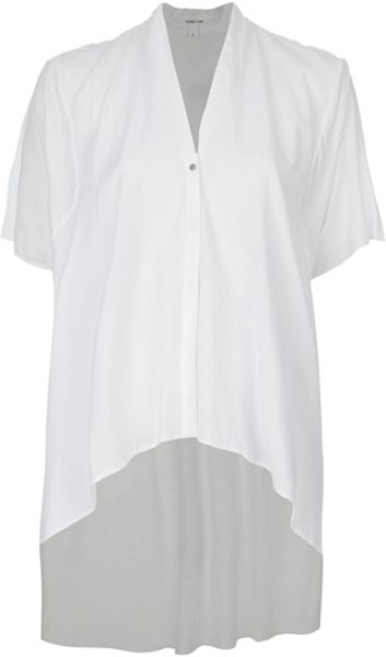 Helmut Lang Drop Back Button Shirt in White - Lyst