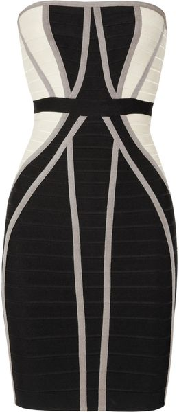 Hervé Léger Strapless Paneled Bandage Dress - Lyst