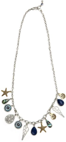 Lucky Brand Shell Charm Necklace in Blue (ttone) - Lyst