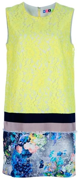 Msgm Sleeveless Shift Dress in Blue (yellow) - Lyst