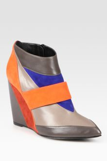Pierre Hardy Colorblock Leather and Suede Wedge Ankle Boots - Lyst