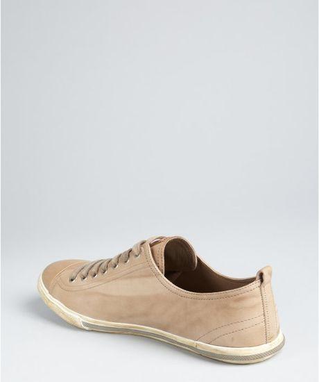 Prada Prada Sport Tan Distressed Leather Cap Toe Sneakers