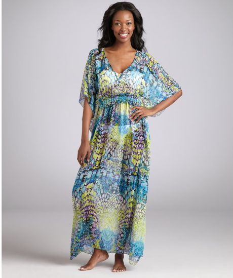 Steve Madden Blue Prism Print Chiffon Maxi Swim Coverup in Multicolor (blue) - Lyst