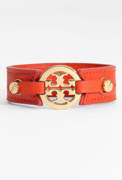 Tory Burch Logo Double Snap Cuff in Orange (blood orange) - Lyst