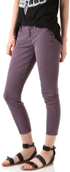 7 For All Mankind Cropped Skinny Jeans in Pink - Lyst