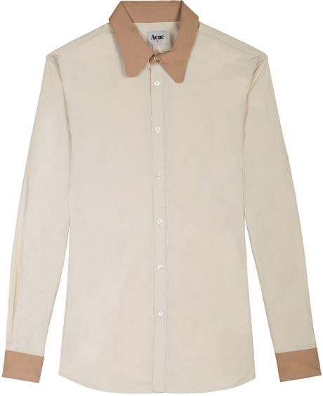Acne Bailey Contrast Shirt in Beige for Men - Lyst