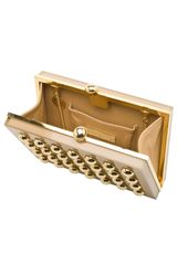 Elie Saab Square Clutch with Gold Studs in Gold - Lyst