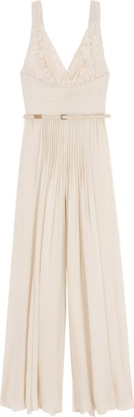 Elie Saab Lace Top Jumpsuit in Beige - Lyst