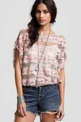 Free People Top Country Fair in Pink (ivory combo) - Lyst