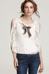 Free People Top Fly Away Lace Bow Neck - Lyst