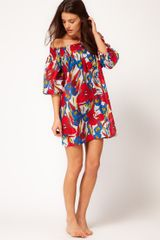 French Connection Tahiti Floral Beach Smock Dress in Red (daisywhitevelarian) - Lyst