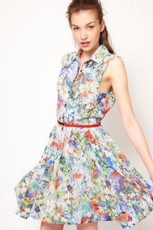 Full Circle Full Circle Botanical Shirt Dress with Belt - Lyst