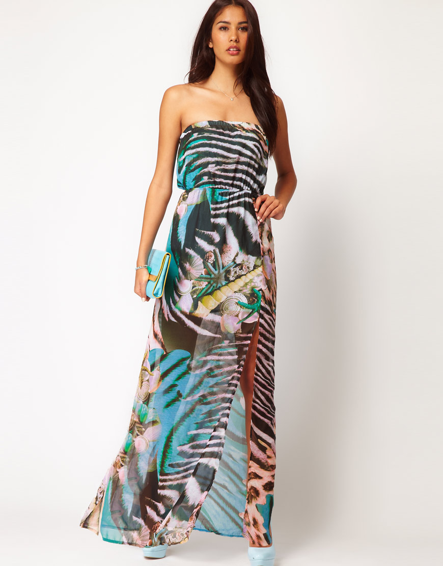 Glamorous Glamorous Tropical Animal Print Bandeau Maxi Dress | Lyst